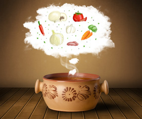 Bowl soup with vegetable ingredients illustration in cloud