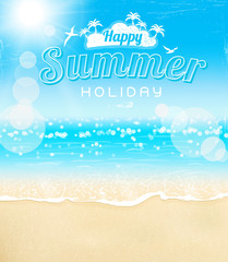 summer beach sand sunshine background, vector illustration