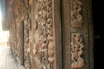 Wood carving at Shwenandaw Monastery in Mandalay,Myanmar.