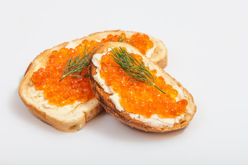 Red caviar sandwiches