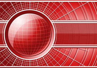 Red background with globe
