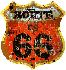 vintage route 66 road sign, vector format  illustrator 10