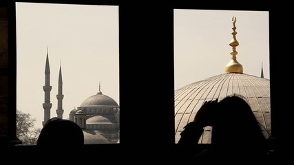 Blue mosque seen trough a window from Santa Sofia