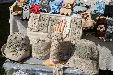 female linen hats and wristlets at market trade