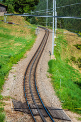 Railway in sunny day,Switzerland. It is classical railway.