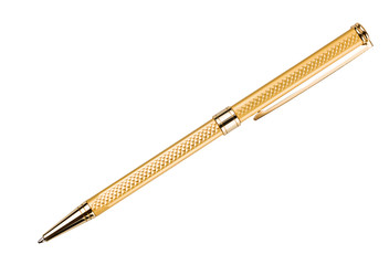 gold ballpoint isolated on white background