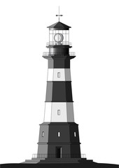 Detailed Lighthouse - isolated on white