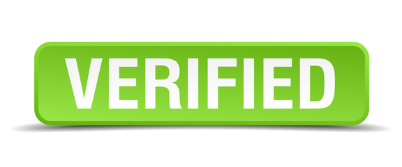 Verified green 3d realistic square isolated button