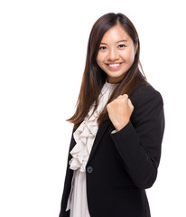 Business woman with arm fist up