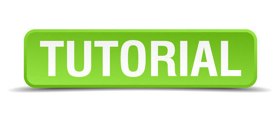 Tutorial green 3d realistic square isolated button