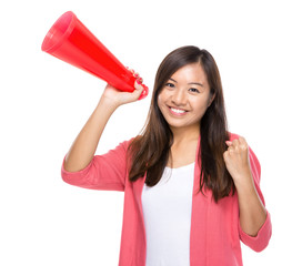 Happy woman hold with megaphone