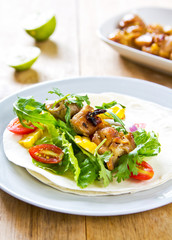 Grilled chicken with sweet corn and vegetables Tortilla