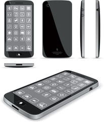 Black Smart Phone - Multiple Views