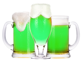 green beer isolated on a white