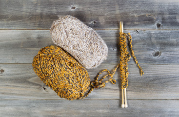 Knitting Materials on Rustic Wood