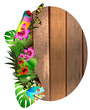 Tropical flowers and leaves and beautiful butterfly over wood, b