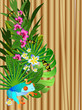 Tropical flowers and leaves over wood, bright illustration