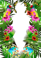Tropical flowers and leaves and beautiful butterfly, bird and fr