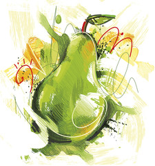 Sketchy green Pear