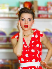 Girl in a red retro dress