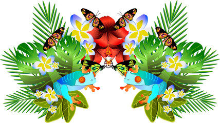 Tropical flowers and leaves and beautiful butterfly, bright illu