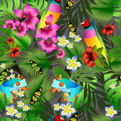 Tropical flowers and leaves and beautiful bird seamless pattern