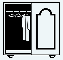 Wardrobe with clothes. Image isolated on blue background