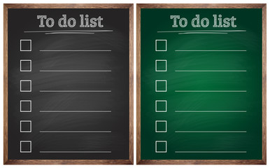 isolated to do list black and green blackboards or chalkboards