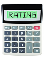 Calculator with RATING on display isolated on white background