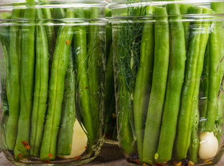 Jars of gren beans ready to preserve