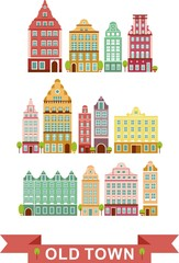Set of colorful old houses in european style