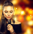 Singing Woman with Microphone over Blinking Background