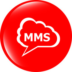 mms glossy web icon isolated on white background