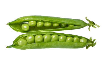 Fresh green peas in the pod