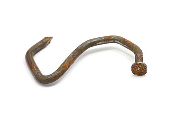 Rusty bent nail building on a white background