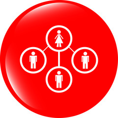 icon button with network of woman inside, isolated on white