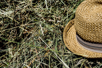 straw hat relaxing in grass, hay