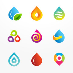 Water drop symbol logo set. Collection of colorful signs.