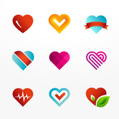 Heart logos set. Collection colorful signs and icons.