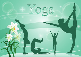 yoga postures with the white orchid on green background