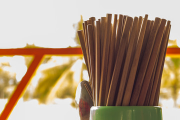 Bundle of chopsticks in a plastic jar