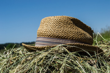 hat working farm, mowing grass, straw hat