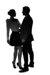 Silhouettes of an elegant romantic couple