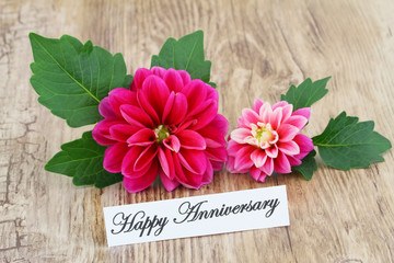 Happy Anniversary card with pink dahlia
