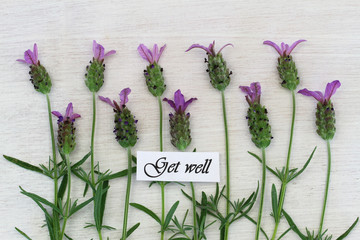 Get well card with lavender flowers on white wooden surface