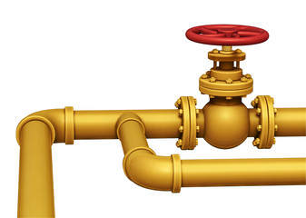 Gas pipe valve illustration. Isolated on white
