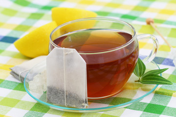 Tea, teabag and fresh lemon