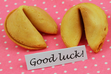 Good luck card with fortune cookies