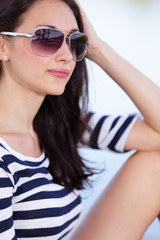 Attractive woman in sunglasses stock image