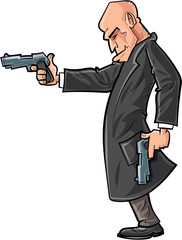 Cartoon bald gun man pointing his gun